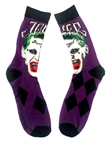 DC Comics Suicide Squad Joker Crew Socks Adult Mens Purple Costume Accessory