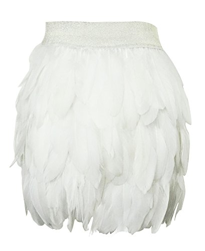 White Fur Skirt - Zakia Women Real Natural Feather Fashion