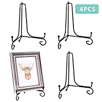 Teamkio Improved 4 Pack Decorative Plate Stand Holder, Picture Frame Holder Stand, Easel Display Stand, Book Display Stand