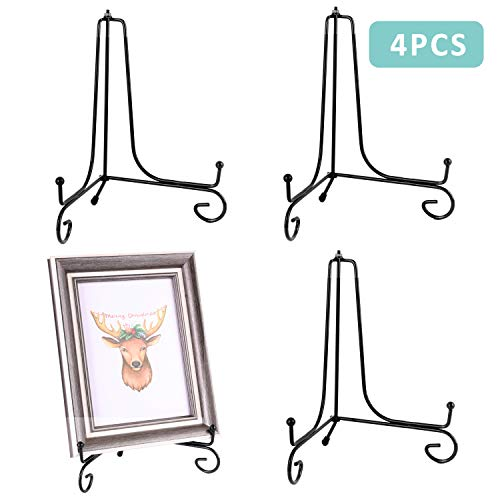 Teamkio 4 Pack Improved Anti-Slip 8 Inch Plate Holder Display Stand, Picture Frame Holder Stand, Easel Display Stand, Book Display Stand