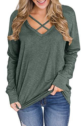 - Women Criss Cross Oversized Shirts Long Sleeve Casual V Neck Tunic Tops Olive 2XL