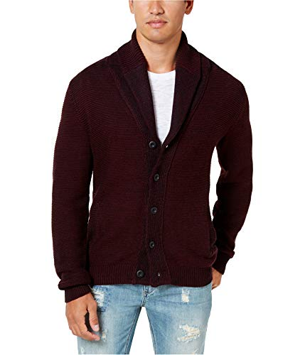 (American Rag Mens Texture Cardigan Sweater, Red, Medium)