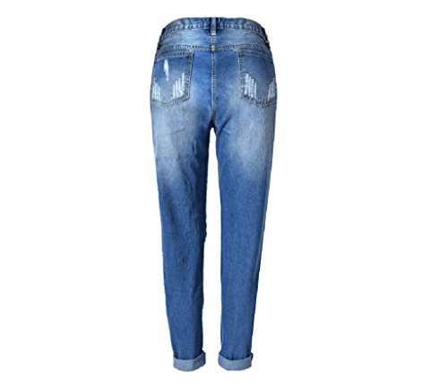 Sdrucito Homieco™ Alta Distrutto Casuale Strappato Donne Denim Destroyed Pantaloni Blu Vita Jeans qq8gwCr