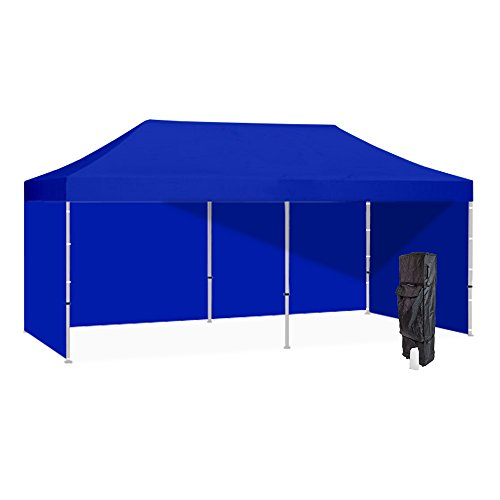 Vispronet 10x20 Blue Canopy Tent Kit – Resists up to 25mph Wind Gusts – Includes Commercial Grade Steel 10x20 Frame, Water-Resistant Top, Backwall and 2 Sidewalls, Roller bag, and Stake Kit