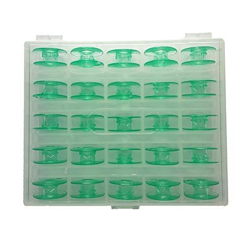 B-PRTT 25pcs/Box Green Plastic Bobbins for Viking Husqvarna Sewing Machines 4131825-45 (Viking Plastic Bobbin)