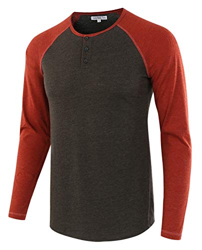(HARBETH Men's Casual Long Sleeve Henley Shirt Raglan Fit Baseball T-Shirts Tee H.Charcoal/Rusty)