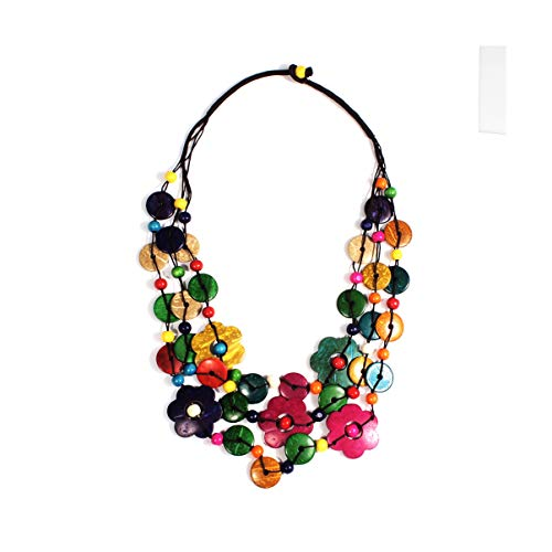 - Nataliya African Bead Jewelry Set (Multicolor Flower Coconut)