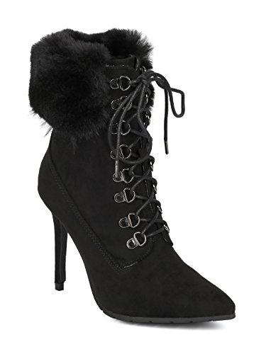 uede Pointy Toe Corset Lace up Faux Fur Trim Stiletto Bootie HD24 - Black Faux Suede (Size: 10) ()