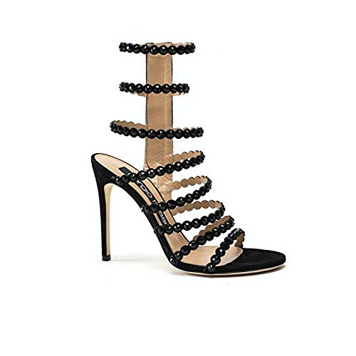 Sergio Rossi Suede Platform Pump - Sergio Rossi Sandals, Luxury Italian High Heels for Women, Black Open Toe Strappy Sandal, Glass Crystal Detail, 105mm, Suede & Metallic Leather, Made in Italy