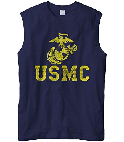 (Cybertela Men's United States Marine Corps USMC Sleeveless T-Shirt (Navy Blue, Large))