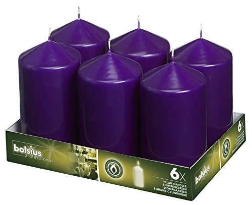 Bolsius 3x6 Set Of 6 Purple Pillar Candles Aprox 3x6 inches by Bolsius