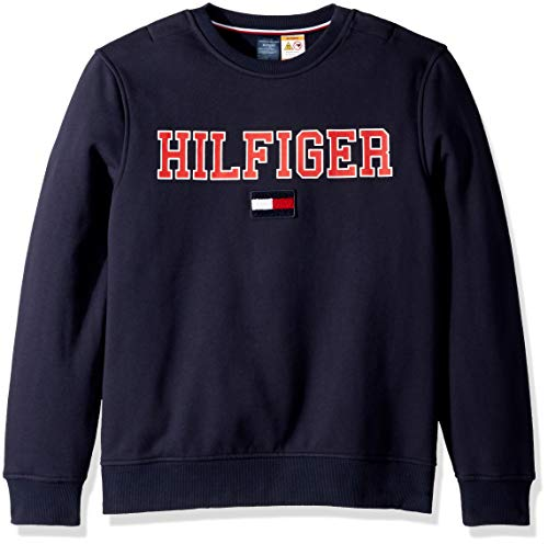 Tommy Hilfiger Men's Adaptive Sweatshirt with Magnetic Buttons at Shoulders, navy blazer, X-Large