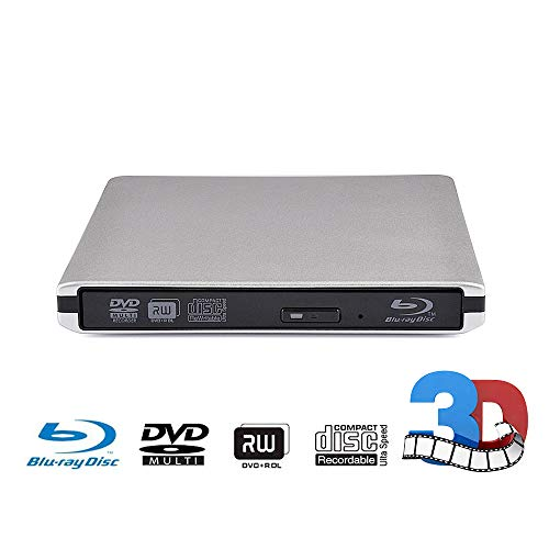External CD DVD Blu-ray Drive USB 3.0 Portable BD CD Burner/Player/Writer/Super Drive CD/DVD-ROM CD/DVD-RW BD-ROM Compatible with Windows 10/8/7/XP/Vista MAC OS System for Laptop/Desktops PC