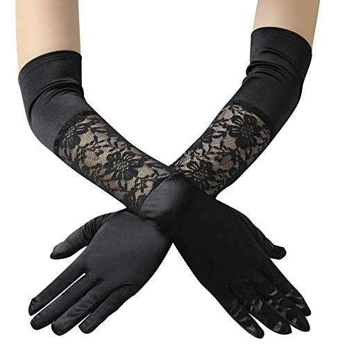 BABEYOND Floral Lace Gloves for Wedding Opera Party 1920s Flapper Lace Gloves Stretchy Adult Size -