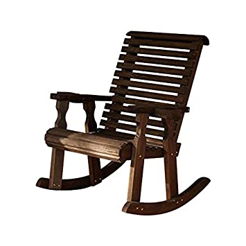 Amish Heavy Duty 600 Lb Roll Back Pressure Treated Rocking Chair with Cupholders Dark Walnut Stain