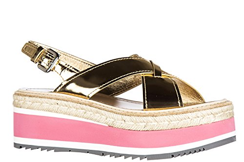 Prada sandales femme en cuir specchio or
