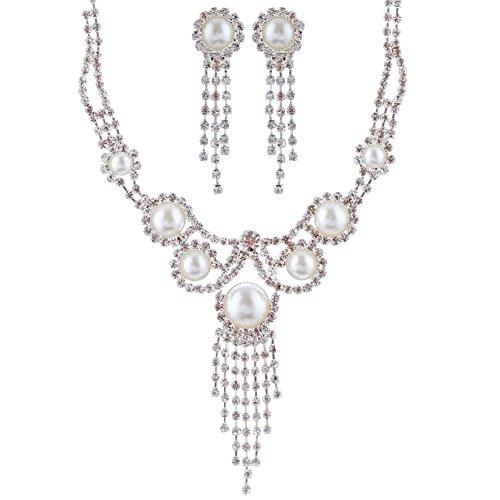 ACCESSORIESFOREVER Women Bridal Wedding Prom Fashion Jewelry Set Crystal Rhinestone Pearl Vintage Drop Necklace Silver