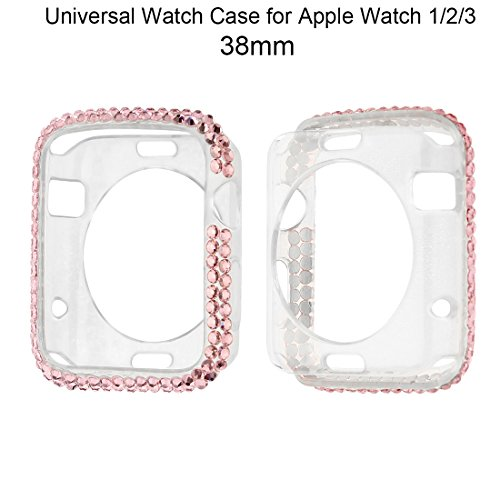 Crazybravo Bumper Case for Apple Watch 38mm/42mm,Universal Crystal Diamond TPU/Silicone Watch Case for Apple Watch/iWatch Series 1/2/3 (Pink, 38mm) (Diamond Crystal Protector)