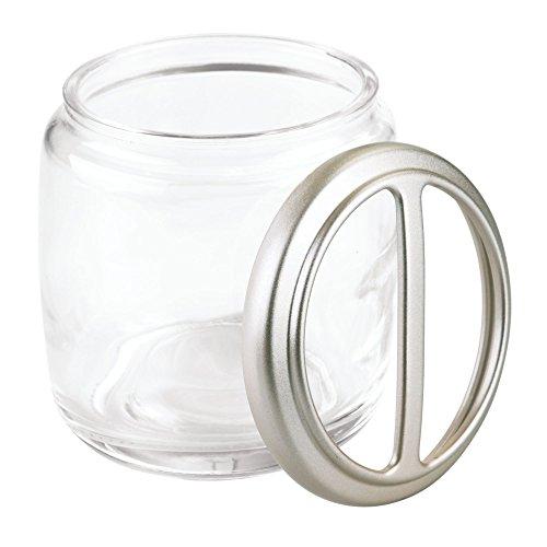(InterDesign Hamilton Glass Toothbrush Holder Stand for Bathroom Vanity Countertops - Clear/Satin)