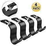 #10: Fourcase 4Pack Car Hook Back Headrest Hooks,Universal Car Vehicle Seat Hanger Holder Hook Organizer for Bag Purse Handbag Cloth (Black)