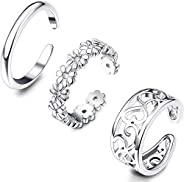 Hanpabum 3 Pcs Open Toe Rings for Women Adjustable Band Ring Heart Daisy Flower Hawaiian Knuckle Ring Foot Jew