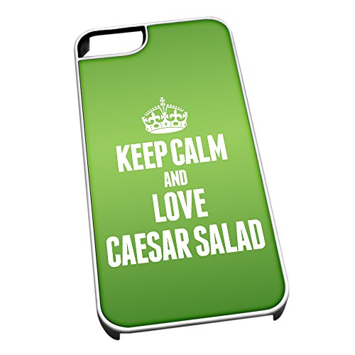 Bianco cover per iPhone 5/5S 0889 verde Keep Calm and Love Caesar insalata