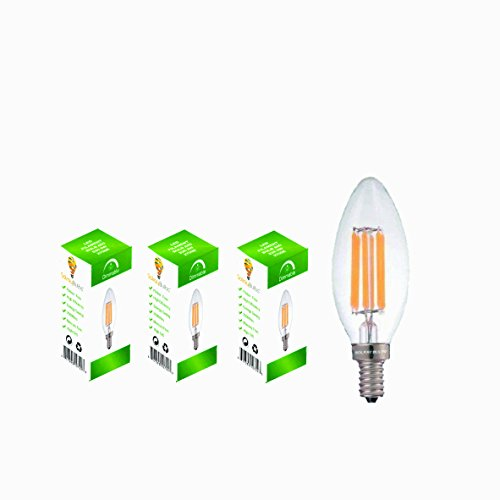 6-Watt LED Filament Candelabra Light Bulbs, 3 Pack - Repalces 60 Watt Incandescent - Warm White, E12 Base, 2700K, UL-Listed - By Solray Bulbs (Led Candelabra Bulb 9w)