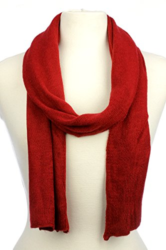 (AN Solid Color Winter Flat Knit Scarf Muffler - Red - One Size for All)
