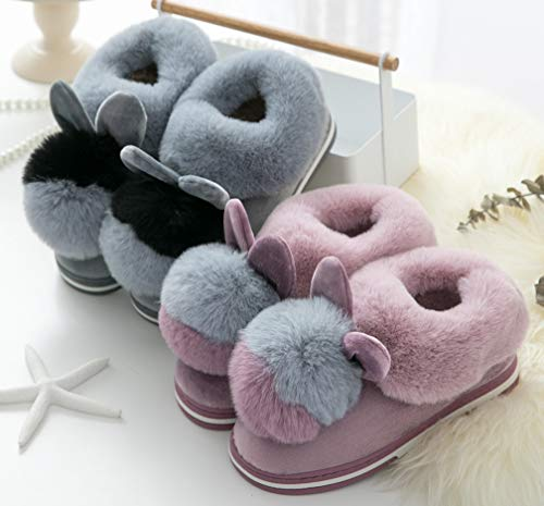 Cattior Slippers Slippers Purple Womens Womens Bunny for Adults Slippers Winter Black Slip on r1rpZwxUq