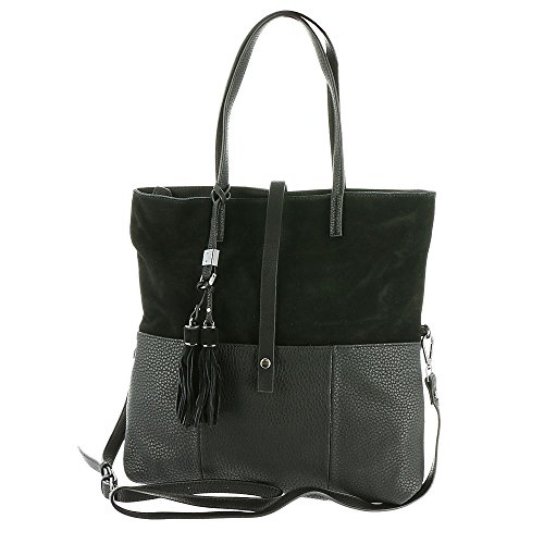 Leather Suede Tote (Moda Luxe Marseille Tote Bag Black)