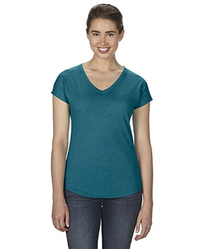Anvil Ladies Triblend V-Neck T-Shirt. 6750VL - Large - Heather Galapagos Blue