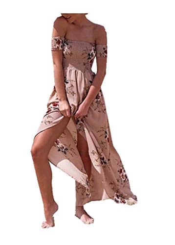 Dress one-Shoulder Sexy Tube top Chiffon Print Split Dress Woman( Khaki,S)