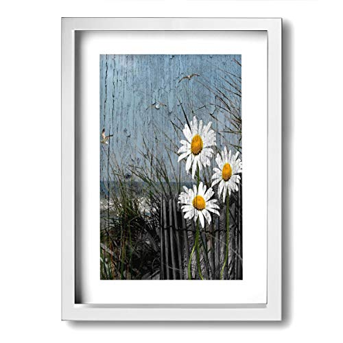 Ale-art Daisy Flower Ocean Sea Gull On Rustic Woodd Frame Bathroom Canvas Art Wall Decor -Contemporary Pictures Canvas Painting Modern Artwork for Home Decoration Framed Ready to Hang
