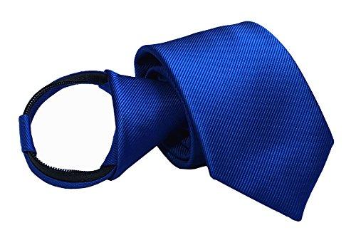 Mens Big Boys Royal Blue Striped Zip Tie Skinny Jacquard Leisure Meeting Necktie