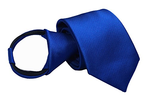 Mens Big Boys Royal Blue Striped Zip Tie Skinny Jacquard Leisure Meeting Necktie ()