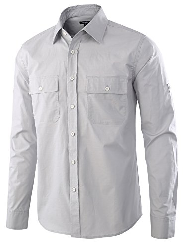 Estepoba Men's Premium Casual Stretch Long Sleeve Solid Button-Down Work Shirt Gray Stone M