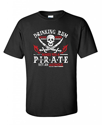 Rum Noon Pirate Novelty Sarcastic Drinking Funny T Shirt 2Xl Black