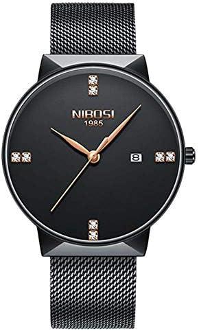 人の贅沢な人は男性の網バンドのためのステンレス鋼の銀製の水晶腕時計を見ます