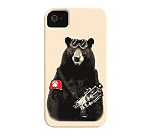Bear Rebel iPhone 4/4s Blanched almond Barely There Phone Case