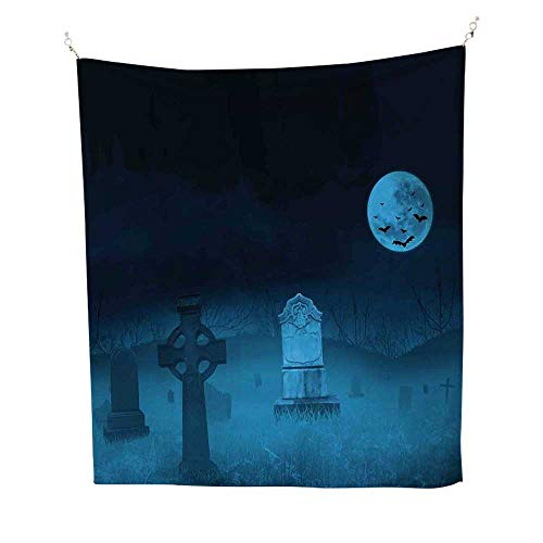 Gothicfunny tapestryGhostly Graveyard Illustration Horror Halloween Dead Danger Theme Full Moon Bat Mystery 60W x 80L inch Quote tapestryBlue]()