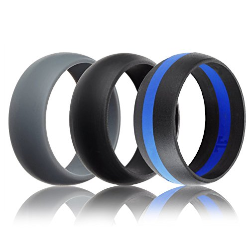Mens Silicone Wedding Ring Wedding Band – 3 Rings Pack – 8.7mm Wide (2mm Thick) – Black, Grey, Black & Blue (9)