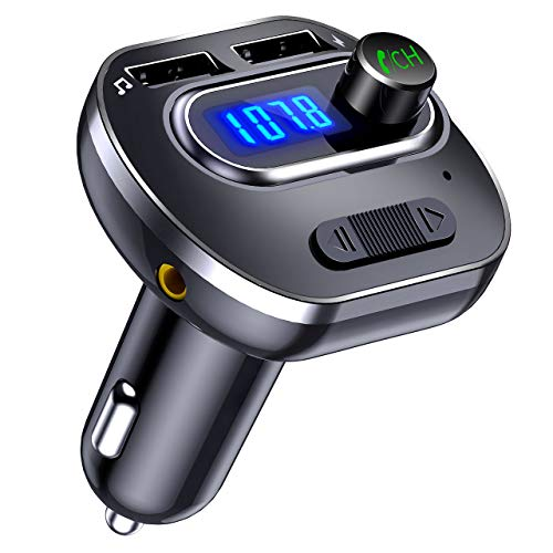 VicTsing (Upgraded Version) V4.1 Bluetooth FM Transmitter for Car, Wireless In-Car Bluetooth Adapter, Bluetooth Radio Transmitter Support Aux Input Output, TF Card and U-Disk, Hands-Free calls (Connect Iphone To Car Stereo Without Aux)