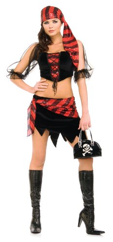 Secret Wishes  Costume Captain's Wench Naughty Pirate Costume, Black, Small -