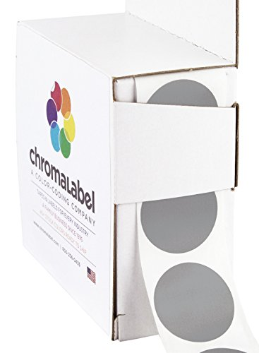 "1"" Gray Color-Code Dot Labels (Write On Surface) 