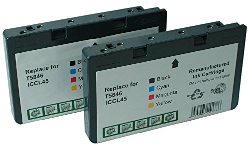 INKUTEN - Cartridge Replacement for T5846 T 5846 2 Pack (2 Photo Color) With Ink Level Display Indicator