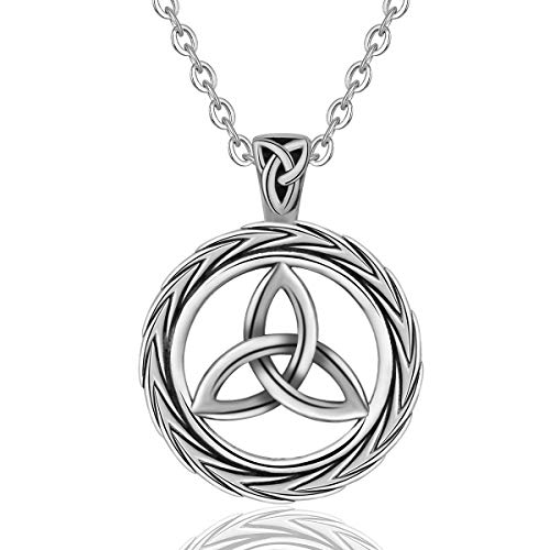 EUDORA Vintage Sterling Silver Irish Celtic Knot Triangle Necklaces Good Luck Pendant, 18