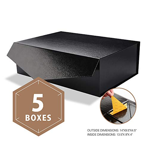 PACKHOME Large Gift Boxes Rectangular 14x9.5x4.5 Inches Bridesmaid Proposal Boxes, Sturdy Storage Boxes, Collapsible Gift Boxes with Magnetic Closure (Glossy Black with Embossing, 5 Boxes)