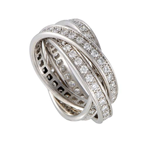 Cartier (Est.) Cartier Trinity 18K White Gold Full Diamond Pave Rolling Band Ring