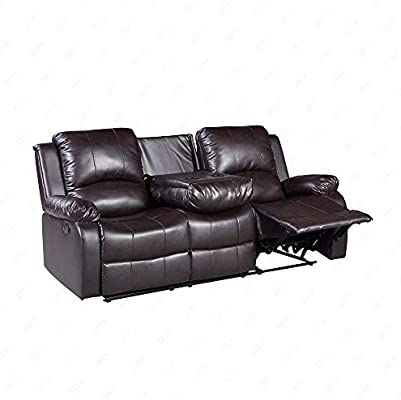 Mecor Bonded Leather 3 Seats Recliner,Living Room Reclining Sofa Furniture  (3 Seat, Brown)