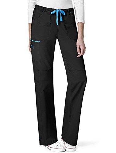 WonderWink Women's Plus Size Wonderflex Joy Denim Style Staight Leg Scrub Pant, Black, (Denim Three Pocket)
